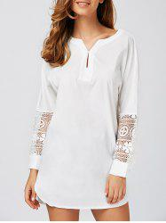 Lace Spliced High Low Long Shirt -
