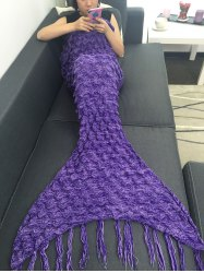 Comfortable Fish Scale Tassel Sofa Mermaid Blanket