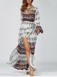 Boho Wrap Flowy Summer Maxi Dress - WHITE
