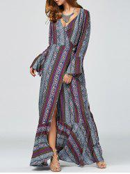 Bell Sleeve Ornate Printed High Slit Wrap Dress