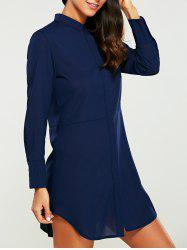 Button Down Long Sleeve Shirt Dress - PURPLISH BLUE