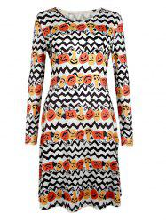 Long Sleeve Halloween Pumpkin Print Dress - WHITE