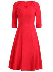 Vintage Sweetheart Neck High Waist Dress - RED 2XL