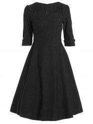 Vintage Sweetheart Neck High Waist Dress