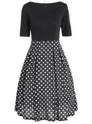 Vintage Polka Dot Splicing High Waist Dress