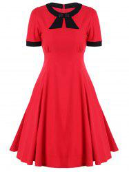 Retro High Waist Buttoned Contrast Color Dress - RED 2XL