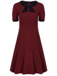 Retro High Waist Buttoned Contrast Color Dress