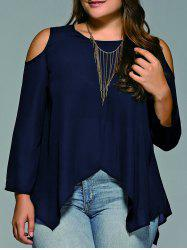 Plus Size Cold Shoulder Asymmetrical Blouse - PURPLISH BLUE