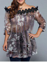 Plus Size Floral See Through Blouse - COLORMIX