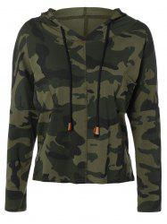 Street Wear Pocket Drawstring Camouflage Pattern Hooded T-Shirt