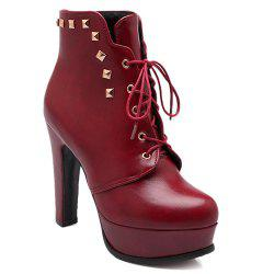 Lace-Up Rivet Chunky Heel Boots - RED