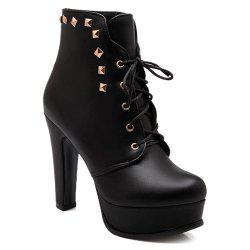 Lace-Up Rivet Chunky Heel Boots - BLACK