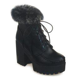 Lace-Up Faux Fur Chunky Heel Boots - BLACK 43