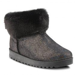 Sequin Bow Faux Fur Snow Boots