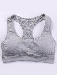 Padded Space-Dyed Racerback Bra - GRAY