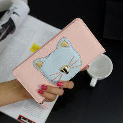 Cat Head Pattern Tassels Clutch Wallet - PINK