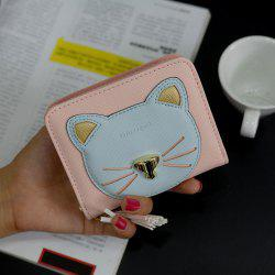 Cat Motif Head Bi-Fold Wallet - Rose Pâle