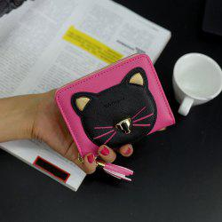 Cat Head Pattern Tassels Bi-Fold Mini Wallet - ROSE RED