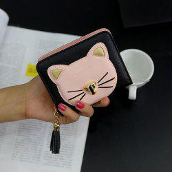 Cat Motif Head Bi-Fold Wallet - Noir