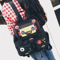 Buckle Straps Robot Nylon Backpack - BLACK