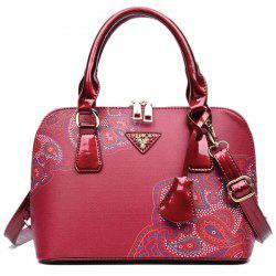 PU Leather Pendant Tribal Printed Tote - RED