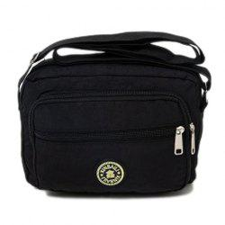 Multi Zips Nylon Crossbody Bag - BLACK