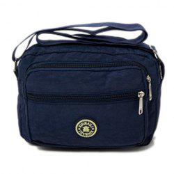 Multi Zips Nylon Crossbody Bag - BLUE