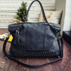 Tassel Rivet PU Leather Tote Handbag - BLACK
