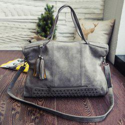 Tassel Rivet PU Leather Tote Handbag - GRAY