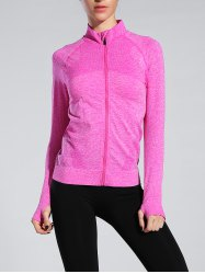 Space-Dyed Zip Slim Sporty Running Jacket -