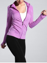 Space-Dyed Zip Slim Sporty Running Jacket - LIGHT PURPLE M