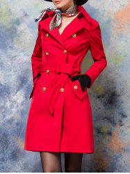 Button Up Belted Skirted Coat -