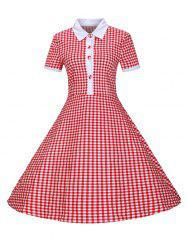 Plaid Buttoned 1940s Swing Dress