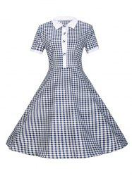 Plaid Buttoned 1940s Swing Dress - PURPLISH BLUE