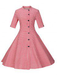 Plaid Buttoned Swing Dress - RED