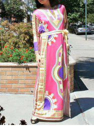 Exotic Belted High Slit Maxi Dress -