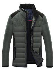 Stand Collar Corduroy Splicing Design Zip-Up Down Jacket -
