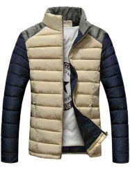 Stand Collar Color Block Splicing Design Zip-Up Down Jacket - APRICOT XL