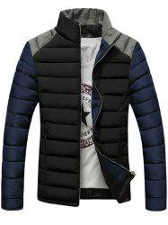 Stand Collar Color Block Splicing Design Zip-Up Down Jacket - BLACK L