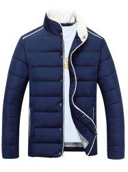 Stand Collar Edging Zip-Up Padded Jacket -