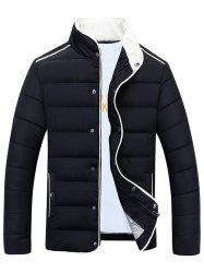 Stand Collar Edging Zip-Up Padded Jacket - BLACK 3XL