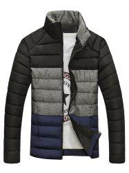 Stand Collar Color Block Spliced Zip-Up Down Jacket -