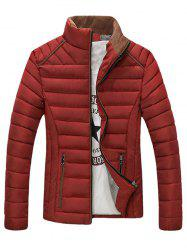 Stand Collar Corduroy Spliced Zip-Up Down Jacket -