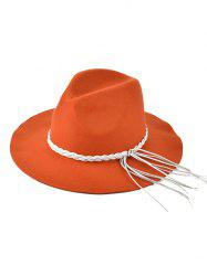 Braided Tassel Floppy Felt Hat - ORANGE RED