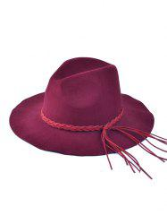 Braided Tassel Floppy Felt Hat - WINE RED