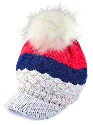 Outdoor Woolen Yarn Ball Color Block Knitted Beanie -