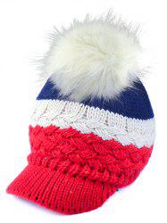Outdoor Woolen Yarn Ball Color Block Knitted Beanie