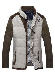 Stand Collar Color Block Splicing Zip-Up Down Jacket
