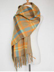 Double Sided Fringe Plaid Scarf - YELLOW