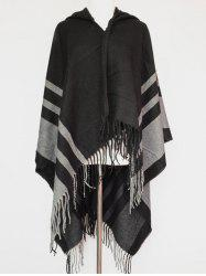 Stripe Fringe Hooded Pashmina -